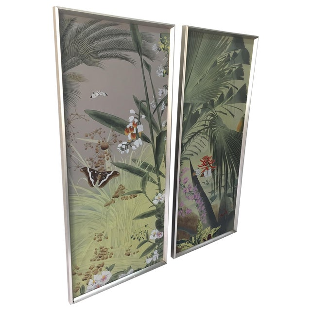 Vintage Hand Painted Silk Panels - A Pair - Image 1 of 6