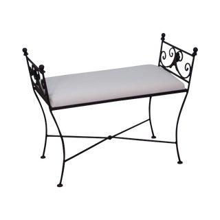 Black Iron Frame Regency Style Bench
