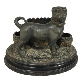 19th C. French Terra Cotta Dog Match Safe