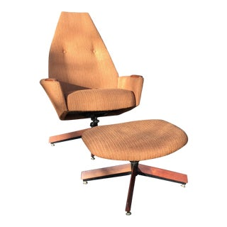 Adrain Pearsall Orange High Back Swivel Chair & Ottoman