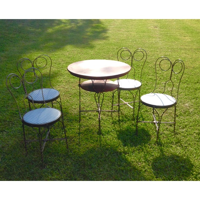 Vintage Ice Cream Parlor Table Set- 5 Pieces - Image 2 of 11