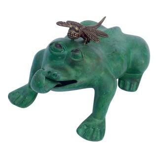 Bronze Frog & Dragonfly Garden Figurine