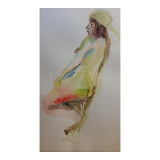 Framed Signed French Female Nude Watercolor