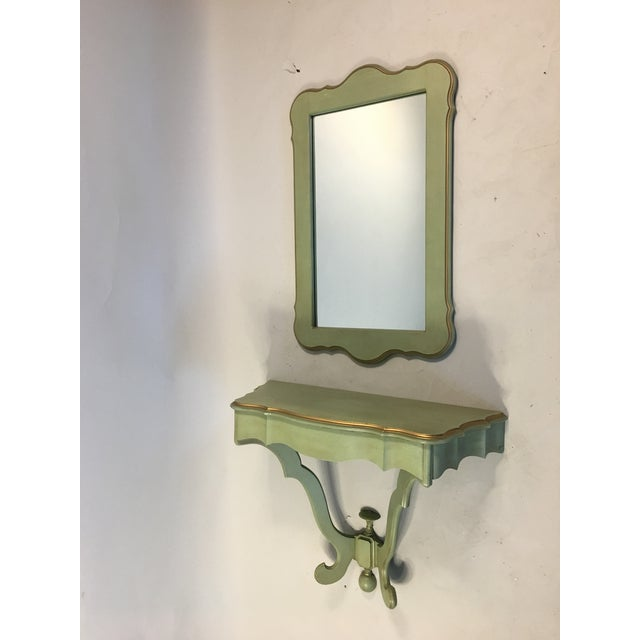 Shabby Mint Green Foyer Demilune Table Wall Shelf & Mirror - A Pair - Image 2 of 9