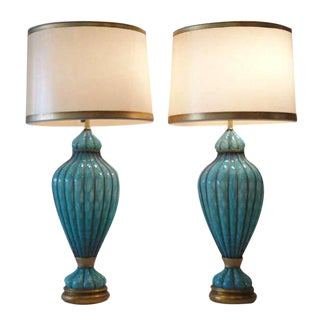 Impressive Pair of Gigantic Turquoise Caged Venetian Murano Lamps by Marbro