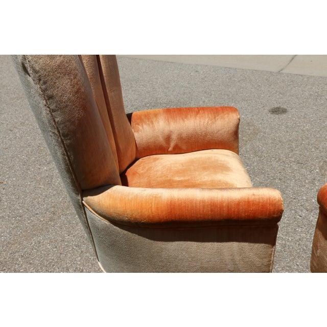 Velvet Highback Swivel Chairs - A Pair - Image 5 of 10