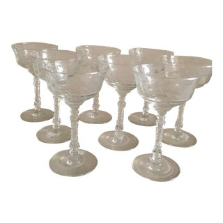 Mid-Century Etched Stemware - Set of 8