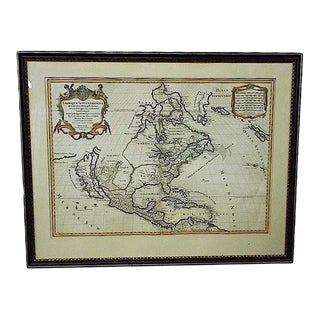 Large Antique 17th C. Map-N. America To N. Tip Of S. America-Framed
