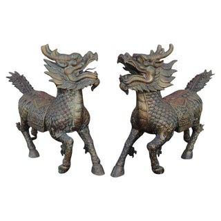 Foo Dog Dragon Sculptures - A Pair