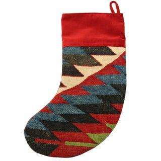 Red & Blue Kilim Christmas Stocking