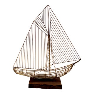 C. Jere Wire Boat Sculpture With Walnut Stand