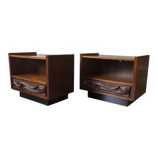 Witco Style Brutalist Oceanic Nightstands - A Pair