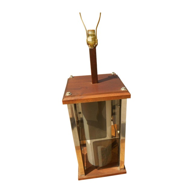 Modernist Cubist Solid Walnut & Chrome Table Lamp - Image 1 of 4
