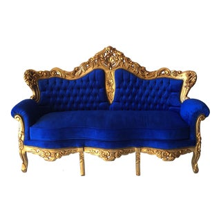 Rococo Gilded Blue Tufted Sofa