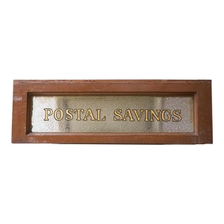 Vintage United States Post Office Glass & Wood Sign