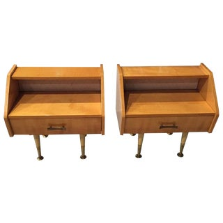 French Sycamore Night Stands - A Pair
