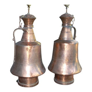 Turkish Copper Water Seller's Jug Lamps - A Pair