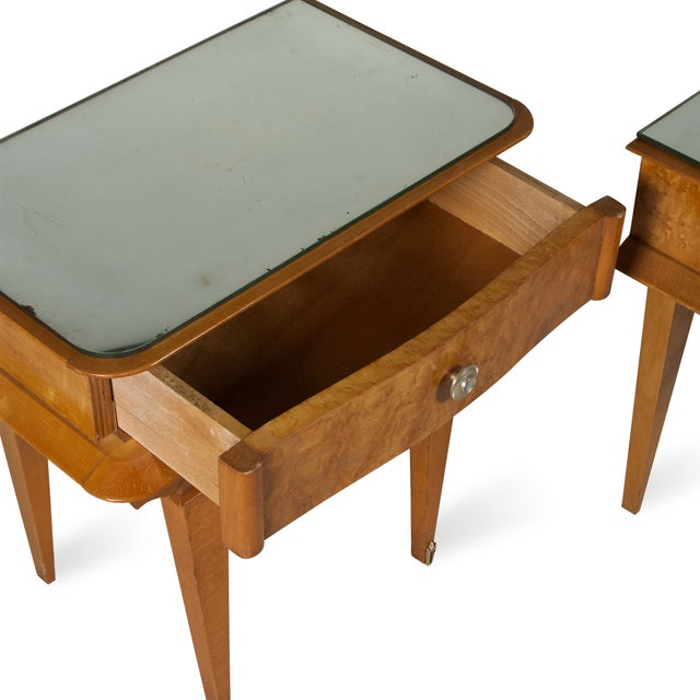 Image of Vintage 1940s French Sycamore End Tables - A Pair