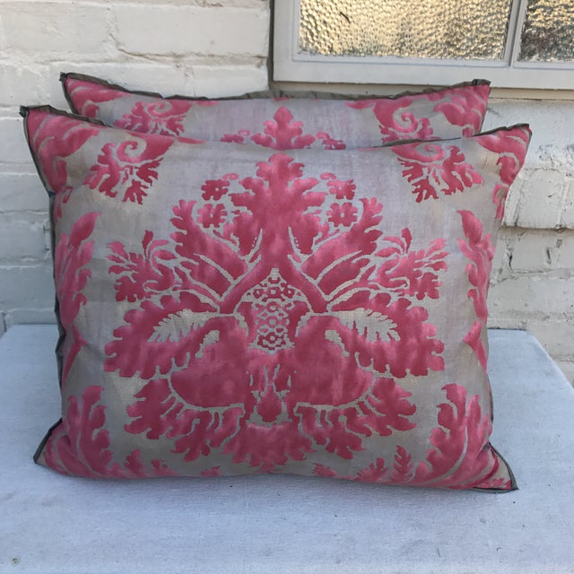 Pink & Gray Fortuny Pillows - A Pair - Image 2 of 5