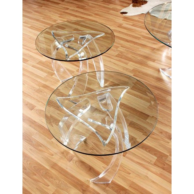 Image of Haziza Lucite Cyclone End Tables - A Pair