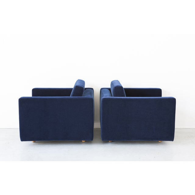 Jack Cartwright Blue Mohair Cube Chairs - Pair - Image 4 of 11