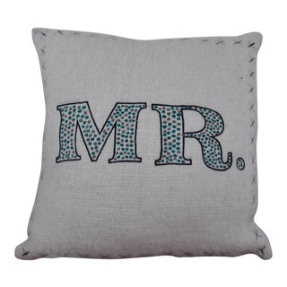 "Embroidered ""Mr."" Throw Pillow"