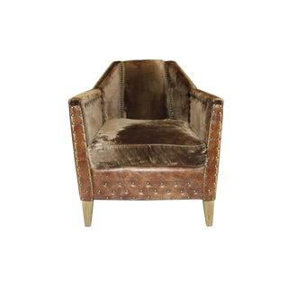 Modern Rustic Leather & Velvet Club Chair