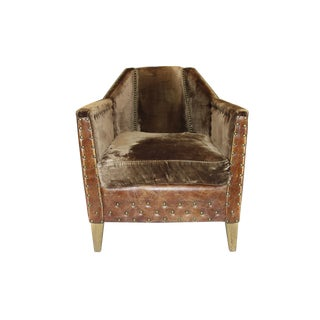 Modern Rustic Leather & Velvet Club Chair