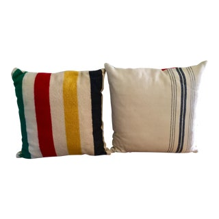 Vintage Authentic Hudson Bay Point Pillows - A Pair