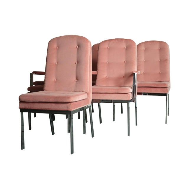 Milo Baughman for DIA Blush Dining Chairs - S/6 - Image 1 of 12