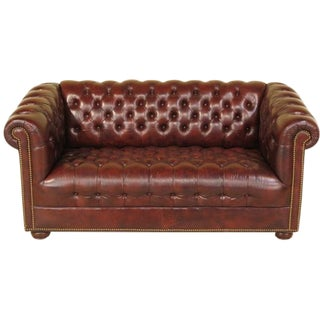 English-Style Leather Chesterfield in Burgundy