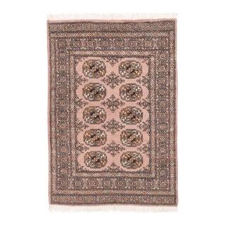 Vintage Afghan Bokhara Pink Tribal Handmade Wool Rug - 3′1″ × 4′7″