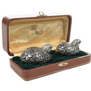 Gucci Pewter Quail Salt & Pepper Shakers