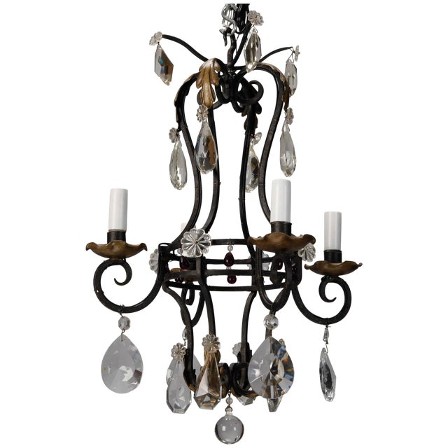 French 4-Light Black Iron & Crystal Chandelier - Image 1 of 4