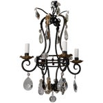 Image of French 4-Light Black Iron & Crystal Chandelier