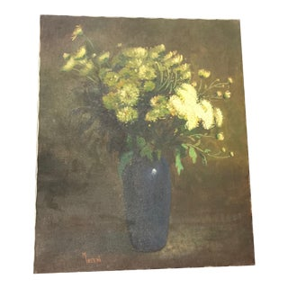 Vintage Floral Still Life Oil on Canvas