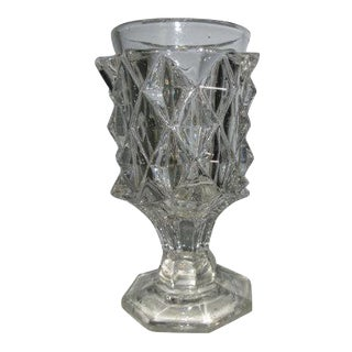 1830 Antique American Flint Sawtooth Glass Goblet