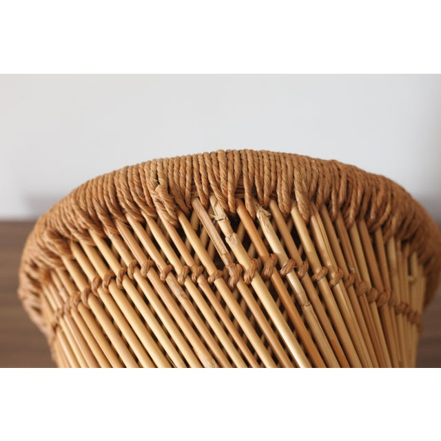 Boho Rattan Side Table with Woven Rope - Image 4 of 5