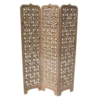 Asian Influenced Carved Hardwood Screen