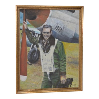 Vintage World War II Fighter Pilot Oil Painting by Frank c.1945