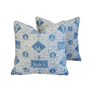 Blue & White Brunschwig & Fils Feather/Down Pillows - Pair