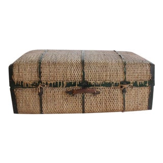 Large Antique Straw and Metal Suitcase