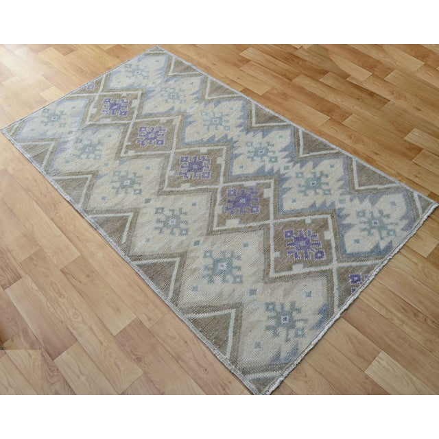 Hand-Knotted Antiqued Turkish Rug - 3′1″ × 5′7″ - Image 5 of 9