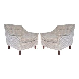 Vintage Wormley Dunbar Danish Style Mid Century Modern Club Lounge Chairs - a Pair