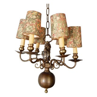 Swedish Brass Lion Chandelier, Circa 1930
