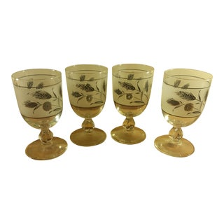 Libbey Silver Leaf Frosted Footed Goblets - Set of 4