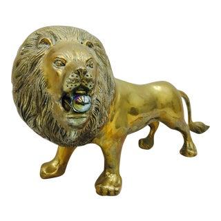 Vintage Brass Lion Sculpture