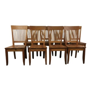 Borkholder Furniture Amish Carved Wood 'Heartland' Side Chairs & Table - Set of 9
