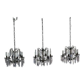 French Bronze Crystal Chandelier - Set of 3