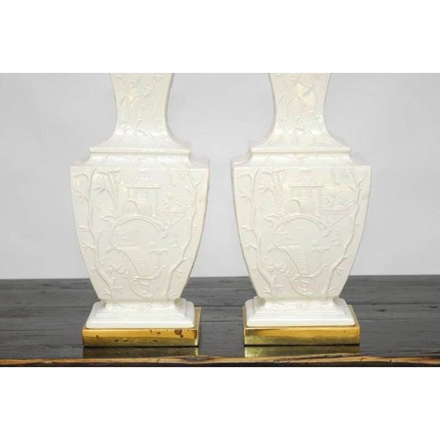 Porcelain blanc de chine urn table lamps a pair chairish for Table de chine